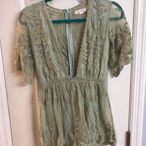 Green Lace Romper